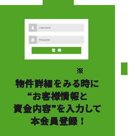 STEP3 [初回のみ]※物件詳細をみる時に?お客様情報と資金内容?を入力して本会員登録!